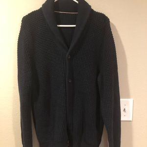 Collared, cardigan navy blue sweater size L.